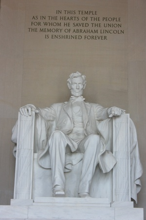 Washington DC, July 22, 2010 – Abraham Lincoln Memorial, vertical