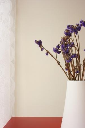 Suche kwiat na stronie tabeli w życia hall Zdjęcie Seryjne