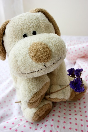 Toy puppy holding a purple flower, smiling Stock Photo - 11135701
