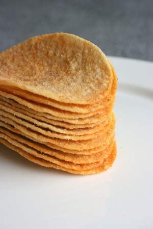 A stack of chips, close up