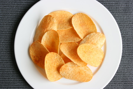 Chips in a plate, aerial view