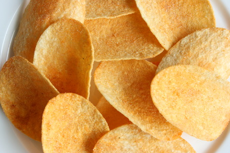 Aerial view of potato chips Stock Photo