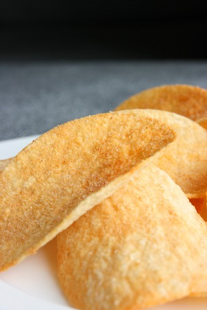 Chips in a plate, close up