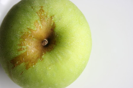Aerial view of a green apple, close up Stock Photo