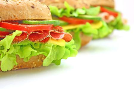Fresh sandwich with vegetables photo