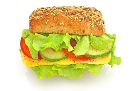 チーズと野菜の新鮮なサンドイッチ 写真素材