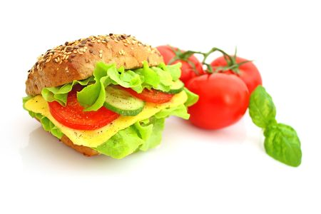 Fresh sandwich with cheese and vegetables photo