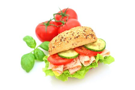 Fresh sandwich with ham and cheese and vegetables Stock Photo
