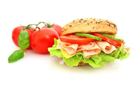 Fresh sandwich with ham and cheese and vegetables Stock Photo - 5647251