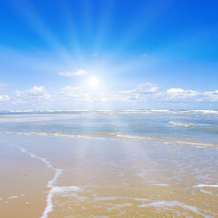 Beautiful beach with sunlight photo