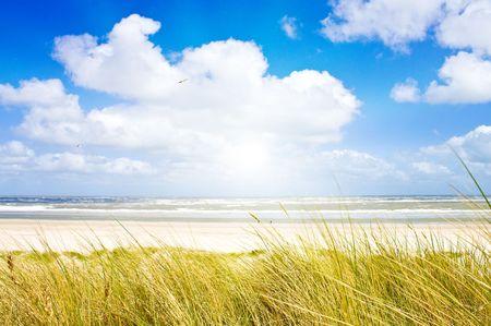 Mooie dag aan de Noordzee Stockfoto