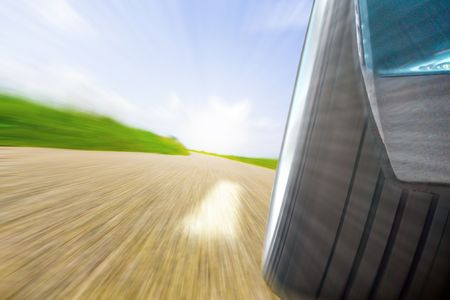 Straße mit Mittelstreifen in Landschaft Stock Photo