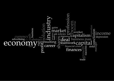 Illustration with different economic terms in black and white