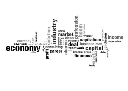 stock exchange: Illustration with different economic terms in black and white