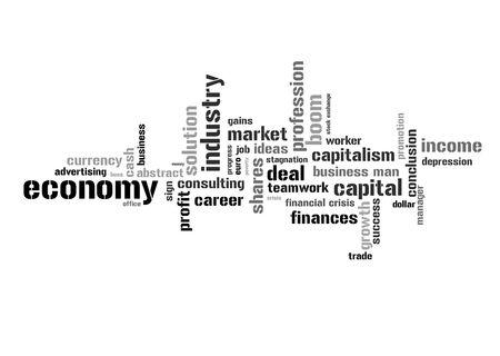 bolsa de valores: Ilustraci�n con diferentes t�rminos econ�micos en blanco y negro