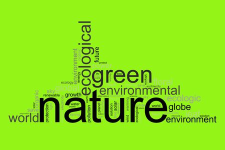 Illustration with many different terms like natur, environment or future illustration