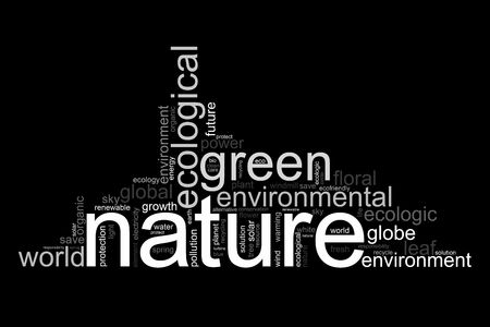 natur: Illustration with many different terms like natur, environment or future
