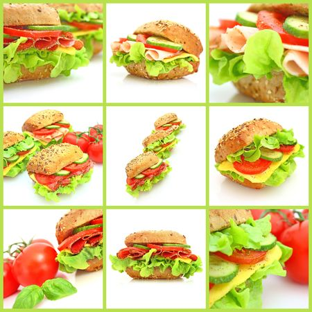 Collage of many different fresh sandwichs with cheese or ham Stock Photo - 6693556
