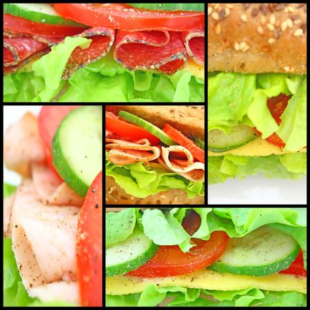 sub: Collage of many different fresh sandwichs with cheese or ham Stock Photo