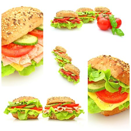 ham sandwich: Collage of many different fresh sandwichs with cheese or ham Stock Photo