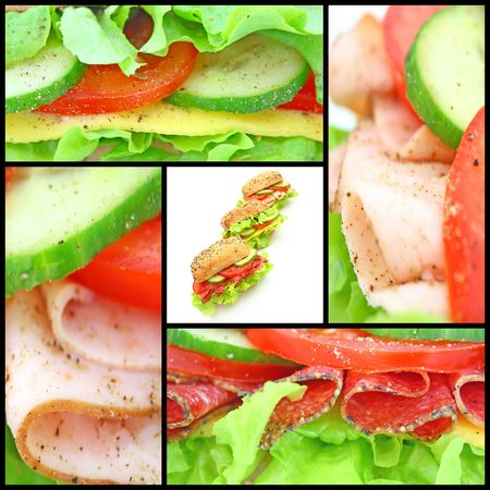 Collage of many different fresh sandwichs with cheese or ham Stock Photo - 6693558