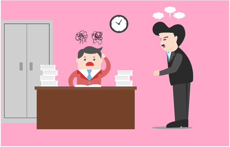 Vector illustration business concept. Boss stand to blame the employee. He was blamed for not finishing work on time, have a pile of papers on table.