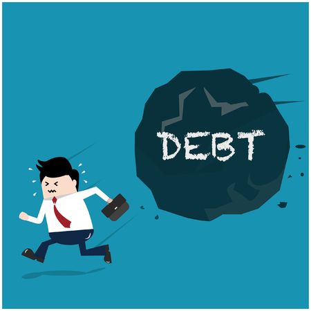 Vector illustration Business and finance concept. Businessman is running away the trouble of conduct a business. Debt problems.