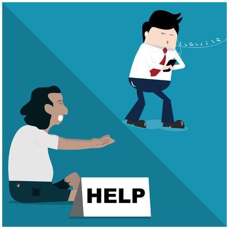 Geschäftsmann und Obdachlose, Cartoon persifliert die Gesellschaft.
