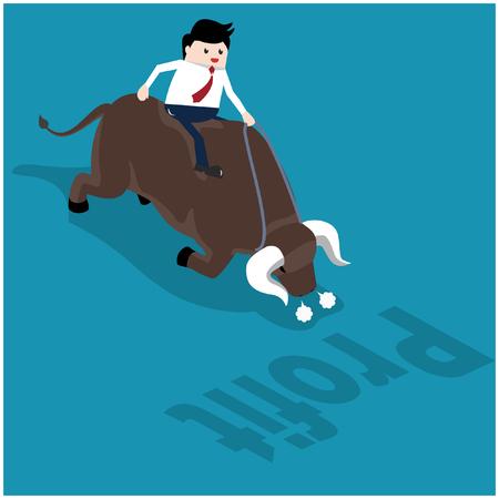 Vector illustration investment concept. Businessman riding the Bull, Symbol of Stock market make profit.