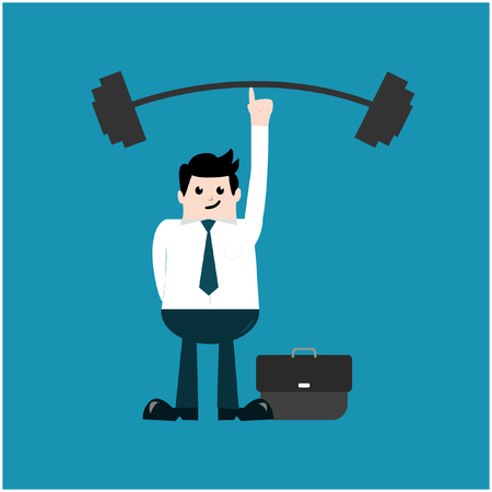 Vector illustration business concept. Cartoon Businessman lifting a heavy barbell with one finger.