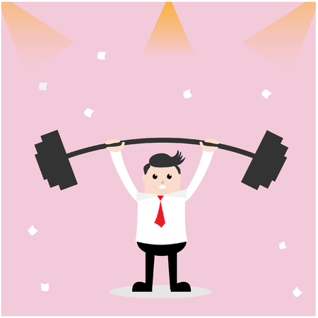 Vector illustration business concept. Cartoon Businessman lifting a heavy barbell, have lighting and paper is element.
