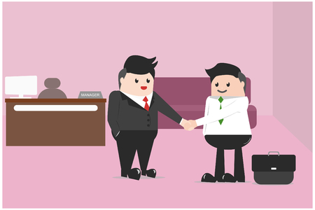 Vector illustration business concept. The company's owners handshake with new employees,Will be working together. Successful negotiations