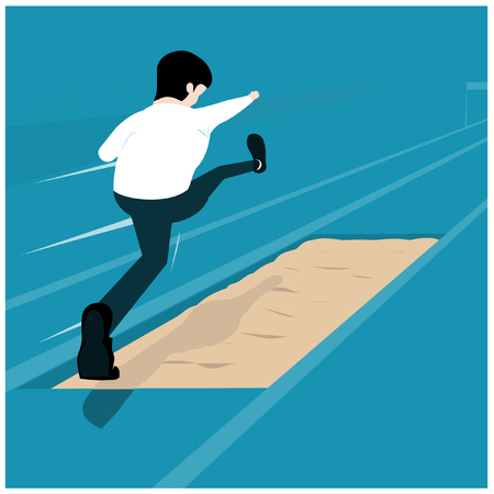 Vector illustration business concept. Businessman is Jump over sand pits. Overcome any obstacles.