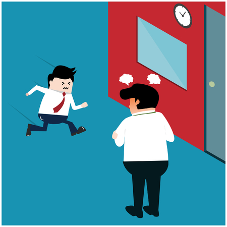 Vector illustration business concept. Boss angry because the employee came to work late.