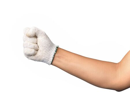 Human hand is wearing mechanic gloves showing gesture hold something on isolated background.