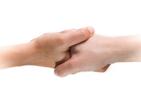 Business handshake on isolated background. Success partnership or Economic cooperation. Close-up top view.