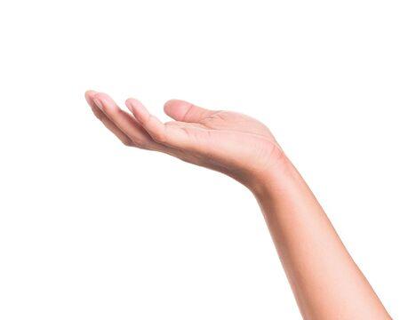 Handgeste, die etwas auf isoliertem Hintergrund hält. Standard-Bild