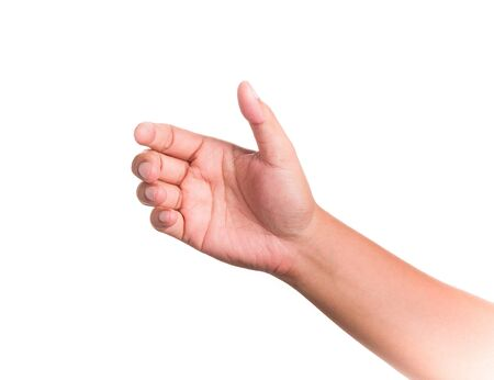 Hands gesture holding something on isolated background.
