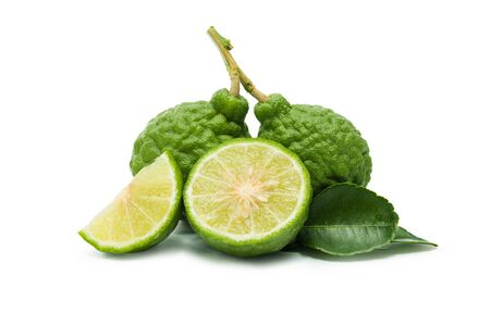 Kaffir lime (Bergamot) isolated on white background. Clipping path. Standard-Bild