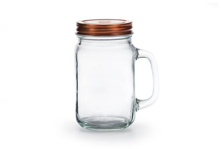 Empty glass jar with lid isolated on white with clipping path. Stock Photo
