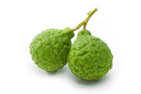 Kaffir lime (Bergamot) isolated on white background. Clipping path. Full depth.