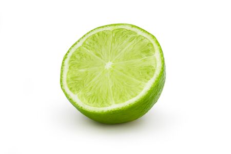 Fresh lime cut in half on white background. Clipping path.