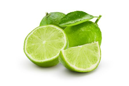 Group of fresh lime with drop shadow on white background. Commercial image of citrus fruits isolated with clipping path. Standard-Bild