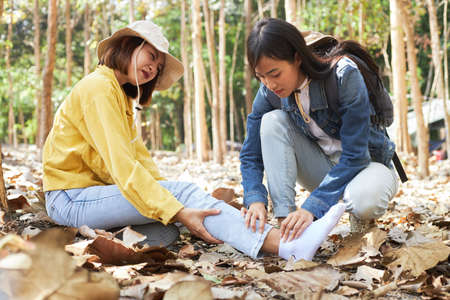 A hiking-loving Asian woman is helping her best friend who was in an accidental flipping ankle in the forest. Travelers are providing first aid to an injured traveling companion.