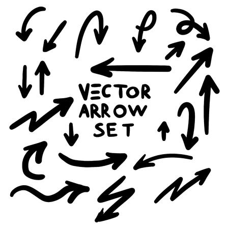 Illustrazione di grunge schizzo marcatore fatto a mano scarabocchio vettore freccia set
