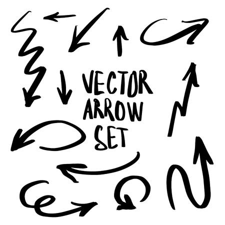 Illustration of Grunge Sketch Handmade Watercolor Doodle Vector Arrow Set Stock Illustratie