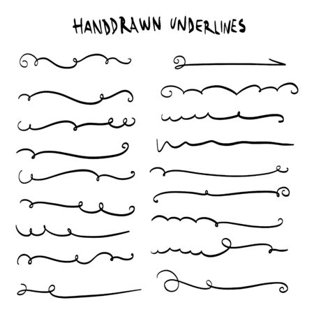 Handmade Collection Set of Underline Strokes in Marker Brush Doodle Style Various Shapes