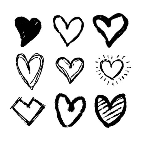 Set of nine hand drawn heart. Handdrawn rough marker hearts isolated on white background. Vector illustration for your graphic design