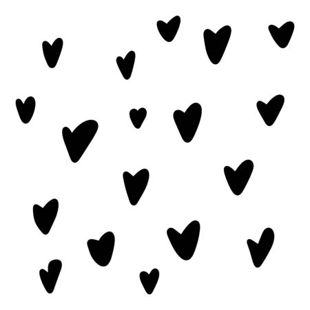 Hand drawn heart. Handdrawn rough marker hearts isolated on white background. Vector illustration for your graphic design  イラスト・ベクター素材