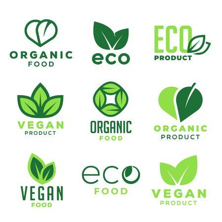 Comida ecológica, productos orgánicos veganos y ecología. Conjunto de elementos de diseño